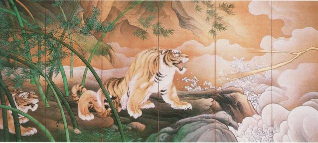 竜虎図 (左隻)