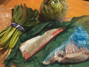 小松菜1束、レタス1個、カンパチ(腹)(&穴子の蒲焼)