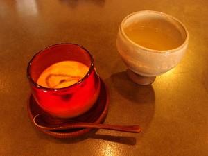柚子茶と黒糖プリン